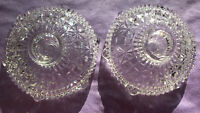 Vintage Clear Glass Round Footed Taper Candle Holders Set of 2 Depression Ribbed