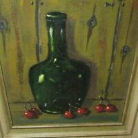FABULOUS MID CENTURY OIL ON BOARD PAINTING 1950'S STILL LIFE WOODEN FRAME