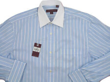 NEW $195 Hickey Freeman Dress Shirt!  17 35   Blue with White Stripes & Collar