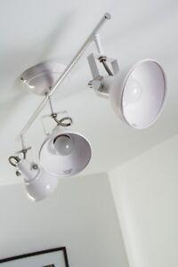 3 spots sur rail Lampe à suspension blanche Plafonnier Éclairage de salon 74039