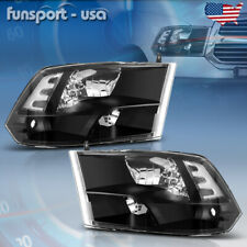 For 2009-2018 Dodge Ram 1500/2500/3500 Black Quad Headlights Lamps Left+Right (Fits: Dodge)