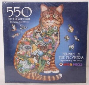 NEW Sealed Vtg 1998 Bits & Pieces Felines In the Flowers By Lewis Johnson Puzzle