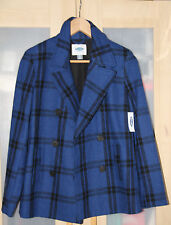 OLD NAVY Women's Black & Blue Plaid Wool Blend Peacoat Sz XS (NWT)
