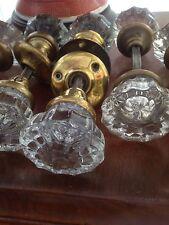 Vintage Ancien Victorien verre & laiton poignées de porte x 7 paires