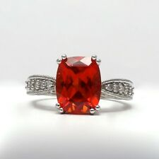 10K White Gold Orange Topaz Diamond Ring Sz 7