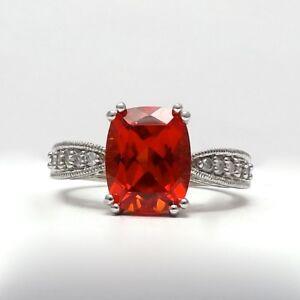 10K White Gold Orange Topaz Diamond Ring Sz 7
