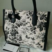 b43ad57a9ef463 GUCCI TOTE BAG WOMEN LADIES RARE AUTHENTIC CANVAS LEATHER BLACK FLOWER JAPAN