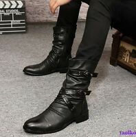 Men's British Buckle High Top Military Boot Pointed Toe Flat Causal Shoes Size