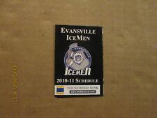 CHL Evansville Icemen Vintage Circa 2010-11 Logo Hockey Pocket Schedule