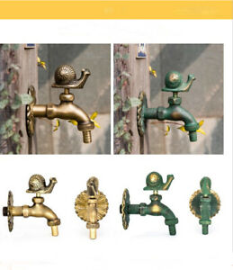 Outdoor Vintage Style Garden Wall Mounted Water Tap Brass Faucet Snail Animal