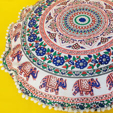 "34"" Indian Mandala Round Floor Pillow Bohemian Decor Meditation Cushion Cover"