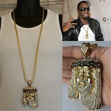 "MENS HIP HOP ICED OUT GOLD  JESUS PENDANT W/ 36"" FRANCO CHAIN NECKLACE"