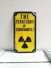 Vintage Look Radioactive Sign Chernobyl Zone Safety Warning Sign Danger Sign.