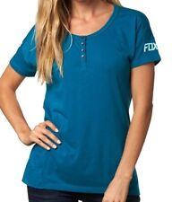 NWT WOMENS FOX RACING FORAGING EMERALD TEAL KNIT HENLEY TOP SHIRT TEE L LARGE