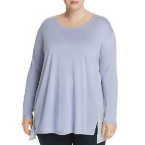 Eileen Fisher Womens Silk Blend Jewel Neck Blouse Tunic Top Shirt Plus BHFO 4963