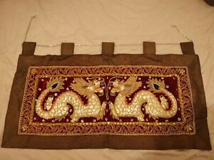 """Thai Wall Hanging Tapestry Embroidered Rare 41""""x20"""""""