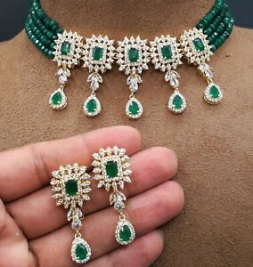 Bollywood Indian Choker Necklace Earrings Party Wear AD CZ Fashion Jewelry Sets