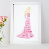 Personalised Word Art Sleeping Beauty Aurora Princess Picture Print Gift Frame