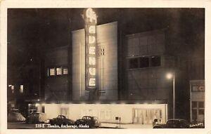 G86/ Anchorage Alaska RPPC Postcard 1955 Theatre Building Night