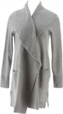 Isaac Mizrahi Cashmere Shawl Collar Open Cardigan Heather Grey 1X NEW A343885