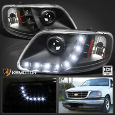 1997-2003 Ford F150 Expedition Black LED Strip Projector Headlights Left+Right