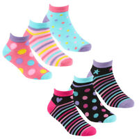 Girls 6 Pairs Dots & Stripes Bamboo Trainer socks sz 6-8 9-12 12-3 Age 2-10