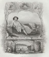 "1845 Two Fine Antique Engravings - German Poet von Goethe - ""Payne's Universum"""