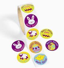 100 HAPPY EASTER Bunny Roll STICKERS EGG HUNT Basket fillers SCRAPBOOKING