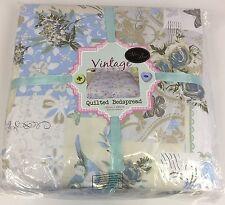 Quality Blue Floral Flower Patchwork Vintage Style Large Bedspread Blanket Throw