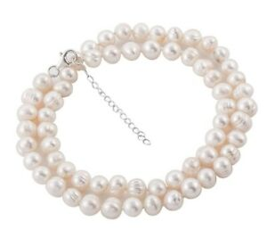 """WHITE FRESHWATER PEARL Necklace with 925 Silver Lock and extender 20""""+2""""  8-9 mm"""