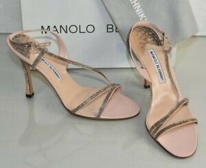 Nuevo Manolo Blahnik Tunica Tiras Exoticx Lagarto Sandalias Rosa Nude Zapatos 40