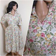 Vintage 80s Nightingales Floral Wildflower Cotton Midi Shirt Tea Dress 40s 14 42