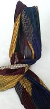 NEW Pleated, narrow scarf. Pzazz!! Blue yellow maroon, white green black silver