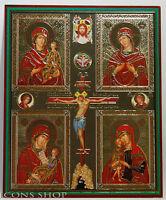 Crucifixion Jesus Christ 4 Virgin Mary Orthodox Icon Четырехчастная  Икона