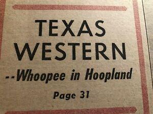 1966 Sporting News TEXAS WESTERN Miner NCAA Tournament FLOURNOY Nevil Shed ARTIS