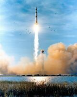 APOLLO 8 LAUNCHES FROM KENNEDY SPACE CENTER IN 1968 - 8X10 NASA PHOTO (FB-137)