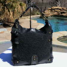 Isabella Fiore XL Huge Glory Carina Hippie Hobo Woven Blk Leather Shoulder Bag