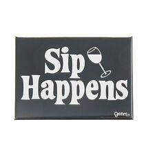 Grimm Sip Happens Wine Glass Black Refrigerator Kitchen Magnet Made in Canada