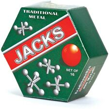 METAL JACKS SET - 04484 VINTAGE TRADITIONAL GAME SET OF 16 METAL JACKS AND BALL