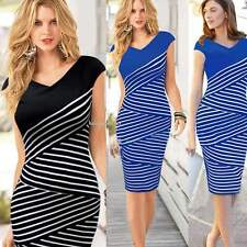Short sleeve Women Striped Cocktail Evening party Bodycon Stretch Pencil Dress