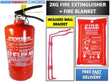 2KG POWDER ABC FIRE EXTINGUISHER + FIRE BLANKET HOUSE CAR OFFICE + WALL BRACKET