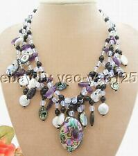 "17.5"" 3Strands Coin Pearl Onyx Amethyst Abalone Shell Necklace"