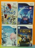 Nintendo Wii & Wii U Disney Pixar Game Lot Smurfs 2 Wall E Shrek Forever Tintin