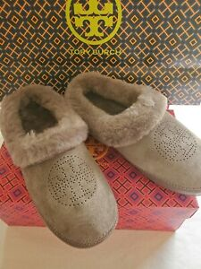 TORY BURCH COLEY PERFORATED LOGO SUEDE SLIPPERS;BISONTE GRAY;SZ 7;BNIB;RET$199