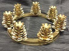 Vtg Atq Rare Solid Brass Pinecone Candelabra Centerpiece 7 Candle Christmas