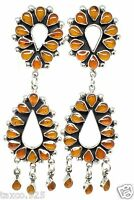 TAXCO MEXICAN STERLING SILVER AMBER FLORAL FLOWER HOOP DANGLE EARRINGS MEXICO