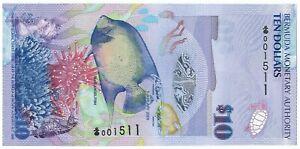 Bermuda 10 Dollars P59 2009 Onion prefix s/n 001511 UNC Hybrid