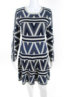 BCBGMAXAZRIA Womens Long Sleeve Geometric Print Sweater Dress Cotton Size Small