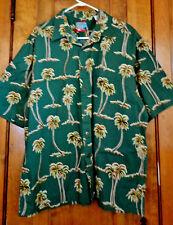 Joe Kealoha Reyn Spooner Hawaiian Shirt XL Green Palm Trees Coconut Look Buttons