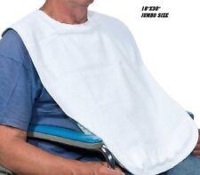 1 NEW ADULT TERRY CLOTH BIB W/ VELCROE CLOSURE WHITE